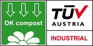 OK Compost-märkningen från certifieringsorganet TUV Austria anger att muggen är lämplig för industriell kompostering och uppfyller de strikta krav som anges i den europeiska standarden EN 13432